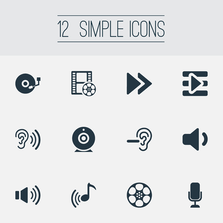 Set Of Simple Dj Icons. Elements Sound, Microphone, Tape And Other Synonyms Wave, Web And Amplifier.