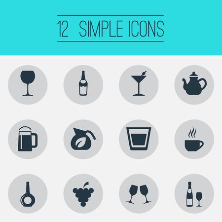 간단한 음료 아이콘의 집합입니다. 일러스트