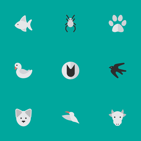 Set Of Simple Fauna Icons. Elements Swan, Fish, Kine And Other Synonyms Swallow, Swan And Bird.