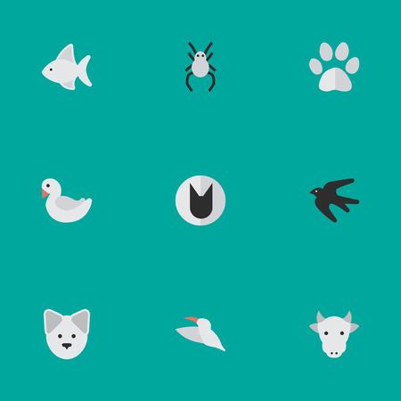 Set Van Eenvoudige Fauna Pictogrammen. Elementen Zwaan, Vissen, Kine En Andere Synoniemen Slikken, Zwaan En Vogel. Stock Illustratie