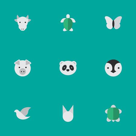 単純な動物アイコンのベクター イラスト セット。
