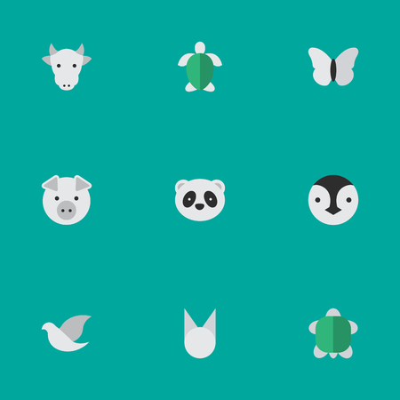 Vector Illustration Set Of Simple Fauna Icons.