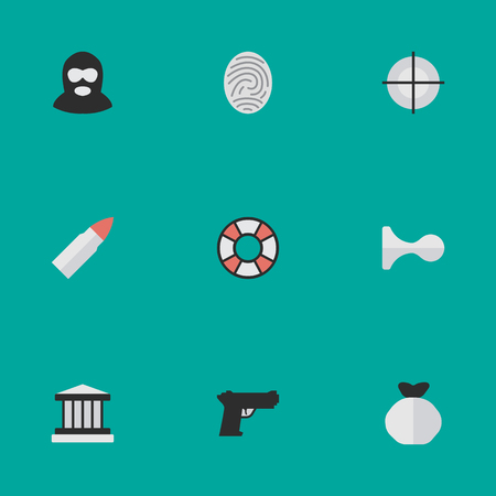 Set Of Simple Crime Icons.