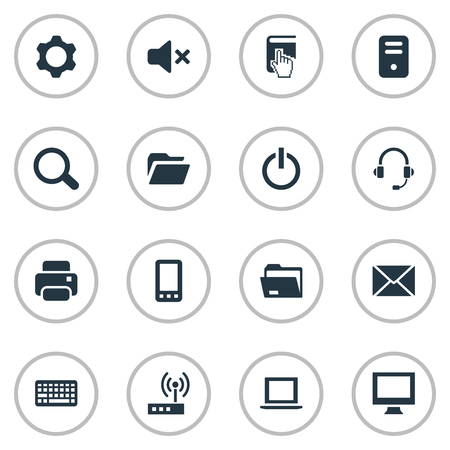 Set Of Simple Computer Icons. Иллюстрация
