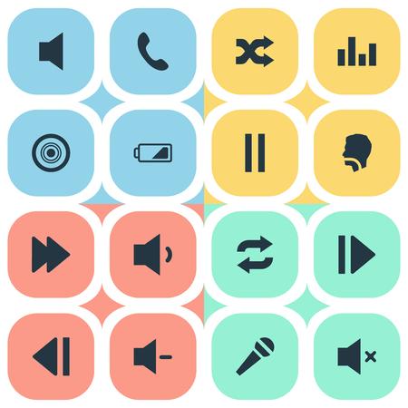 Set van eenvoudige audio-iconen.