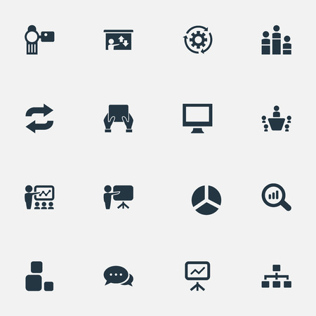Set Of Simple Seminar Icons.