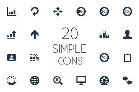 간단한 다이어그램 아이콘의 집합입니다. 요소 상향, 꺾은 선형 차트, 클립 보드 및 기타 동의어 분석, 표시 및 차트.