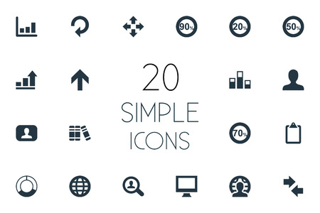 Set Of Simple Diagram Icons. Elements Upward, Line Chart, Clipboard And Other Synonyms Analytics, Display And Chart. Illustration