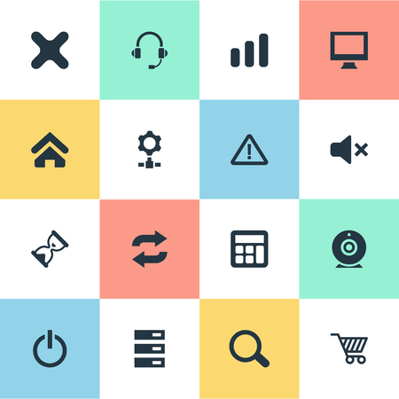 Set Of Simple Computer Icons. Elements Data Center, Switch Button, Reload And Other Synonyms Screen, Station And Gear. Stock Vector - 84057630