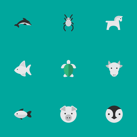 Set Of Simple Fauna Icons. Elements Fish, Tarantula, Perch And Other Synonyms Pig, Steed And Kine. Illustration