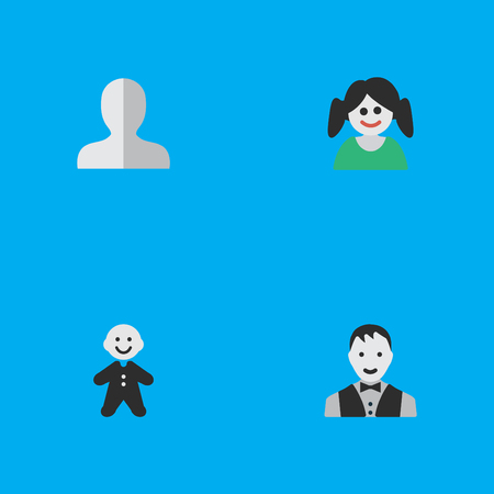 gender identity: Set Of Simple Profile Icons.