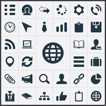 Set Of Simple Team Icons. Elements Pointer, Member, Pinpoint And Other Synonyms Education, Remove And Portfolio. 向量圖像