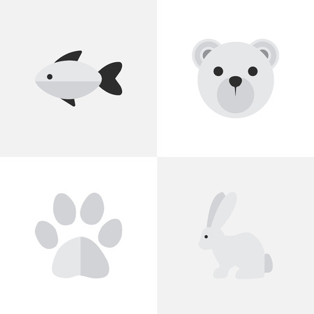 VSet Of Simple Zoo Icons. Elements Foot, Hare, Panda Synoniemen Seafood, Bear And Perch.