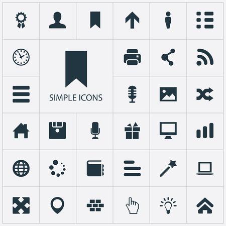 シンプルなインターフェイスのアイコンのセットです。現在、フロッピー ディスクを構築する要素と類義語の他のラップトップでは、カーソルと地