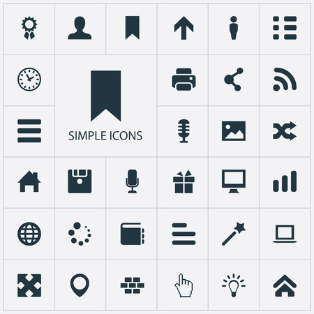 Set Of Simple Interface Icons. Elements Present, Diskette, Constructing And Other Synonyms Laptop, Cursor And Earth. Illustration