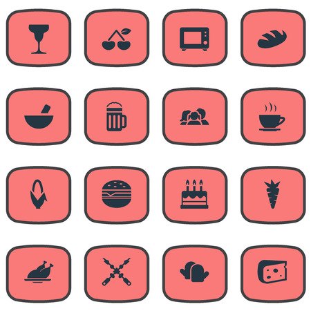 Set Of Simple Kitchen Icons. Elements Vegetable, Delicious Fruits, Hamburger And Other Synonyms Beer, Potholder And Food.