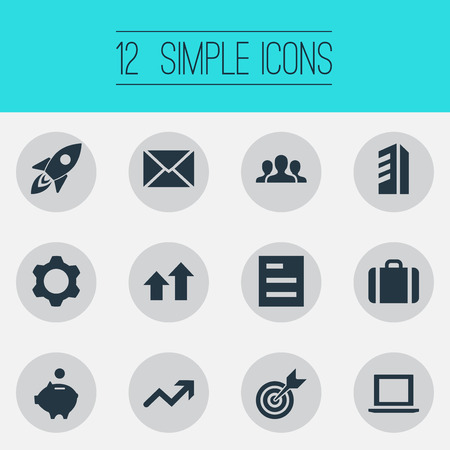 Set Of Simple Teamwork Icons. Elements Surge, Gear, Envelope And Other Synonyms Office, Graph And Surge. 向量圖像