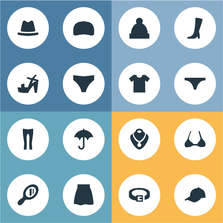 Set Of Simple Clothes Icons. Illustration