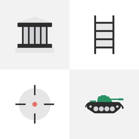간단한 범죄 아이콘의 집합입니다. 요소 군대, 대상, 계단 및 기타 동의어 표적, 군사 및 저격병.