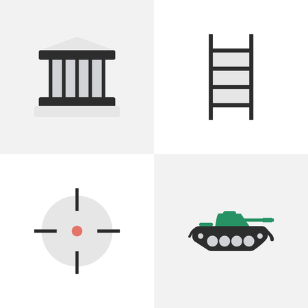 Set Of Simple Offense Icons. Elements Military, Target, Stairs And Other Synonyms Target, Military And Sniper. Illustration