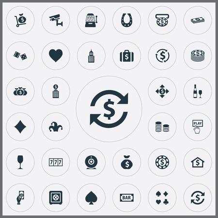 Set van eenvoudige casino iconen. Elementen Moneybag, Dollar Swap, Chip en andere synoniemenratio, Sack en beveiliging.