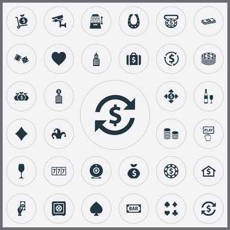 Set Of Simple Casino Icons. Elements Moneybag, Dollar Swap, Chip And Other Synonyms Rate, Sack And Security. Illustration