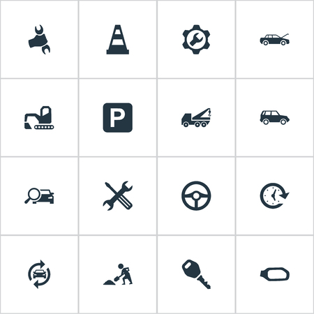 Set Of Simple Auto Icons. Elements Road Sign, Hoisting Machine, Wrench And Other Synonyms Bulldozer, Wrench And Rudder.