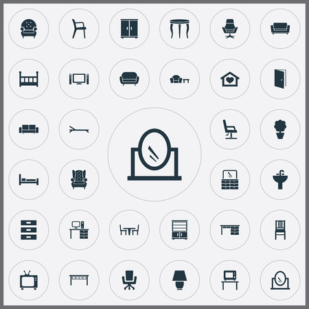 Set Of Simple Furniture Icons.