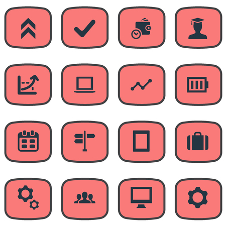 Set Of Simple Startup Icons. Elements Arrow Up, Briefcase, Computer And Other Synonyms Growth, Battery And Frame. Ilustracja