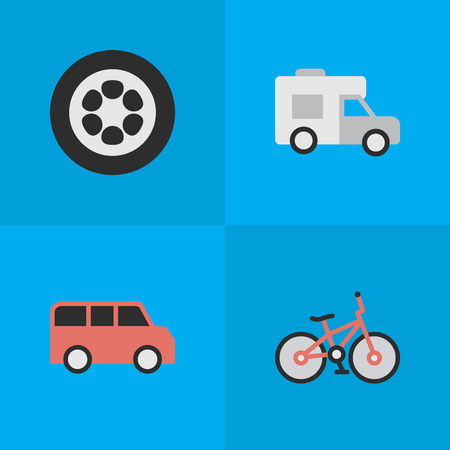 Vector Illustration Set Of Simple Shipping Icons. Elements Wheel, Van, Recycle And Other Synonyms Circle, Family And Bike. Illustration