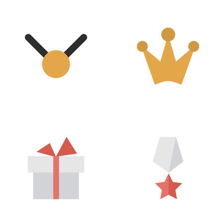 Vector Illustration Set Of Simple Prize Icons. Elements Corona, Medal, Present And Other Synonyms Premium, Present And Medal.