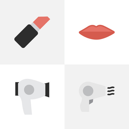 Vector Illustration Set Of Simple Elegance Icons. Elements Blow-Dryer, Pomade, Lips And Other Synonyms Cosmetic, Blow-Dryer And Pomade.