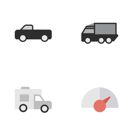Vector Illustration Set Of Simple Traffic Icons. Elements Truck, Speed, Lorry And Other Synonyms Counter, Suv And View.
