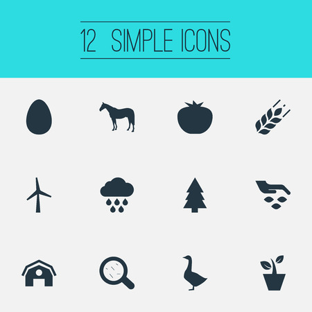Vector Illustration Set Of Simple  Icons. Elements Bacteria, Easter, Turbine And Other Synonyms Rain, Hen And Spruce.