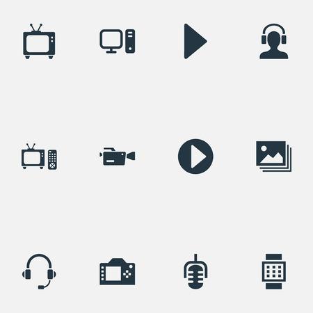 Vector illustratie Set van eenvoudige pictogrammen. Elementen Video Camera, Microfoon, Tv en andere synoniemen Persoonlijk, pc en afstandsbediening. Stock Illustratie