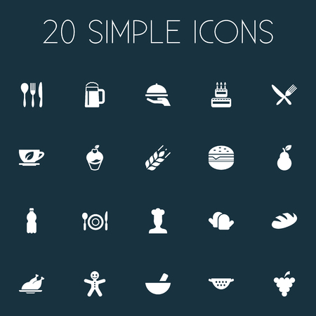 Vector Illustration Set Of Simple Cooking Icons. Elements Hot Dish, Sandwich, Loaf Synonyms Silverware, Chef And Christmas. Фото со стока - 84399894
