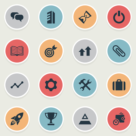 Vector Illustration Set Of Simple Teamwork Icons. Elements Gear, Fastener Paper, Magazine And Other Synonyms Magazine, Settings And Conversation.