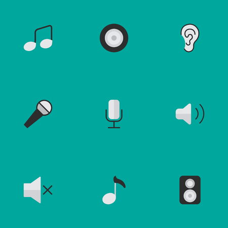 Vector Illustration Set Of Simple Sound Icons. Elements Music Sign, Listen, Loudspeaker And Other Synonyms Amplifier, Sign And Loudspeaker.