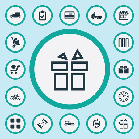 Vector Illustration Set Of Simple Delivery Icons. Elements Trolley, Checklist, Working Hours And Other Synonyms Luggage, Quick And Service.