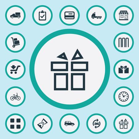 Vector illustratie Set van eenvoudige levering iconen. Elementenkarretje, controlelijst, werktijden en andere synoniemenbagage, snel en service.