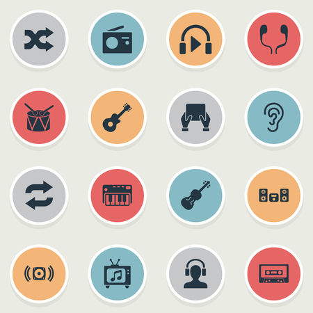 Vector Illustration Set Of Simple Melody Icons. Elements Headphones, Loudspeaker, Hear And Other Synonyms Synthesizer, Listen And Loudspeaker.
