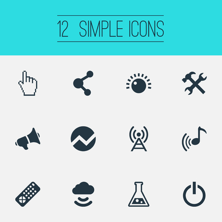 Vector Illustration Set Of Simple Gadget Icons. Elements Volume Control, Radio Tower, Melody And Other Synonyms Switch, Melody And Medicine.