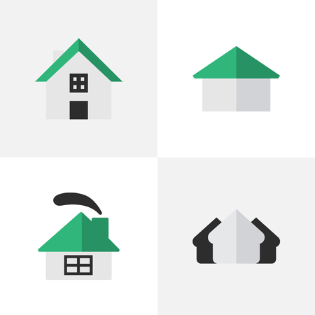 Vector Illustration Set Of Simple Real Icons. Elements Home, Property, Dwelling And Other Synonyms Real, Home And House. Illustration