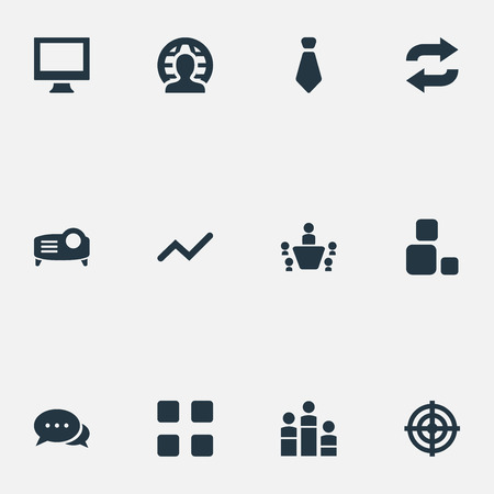 Vector Illustration Set Of Simple  Icons. Elements Coach, Group, Projecting Device And Other Synonyms Coach, Monitor And Equality.