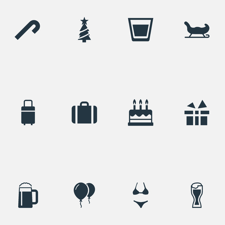 Vector Illustration Set Of Simple Vacation Icons. Elements Pastry, Ale Mug, Luggage And Other Synonyms Balloon, Lemonade And Case.