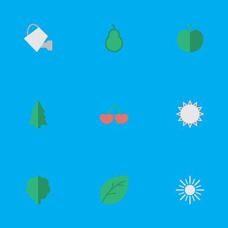 シンプルな庭のアイコンのベクトル イラスト セット。要素ツリー、サンドバッグ、太陽、他の同義語は嫌い、パンチとバッグします。