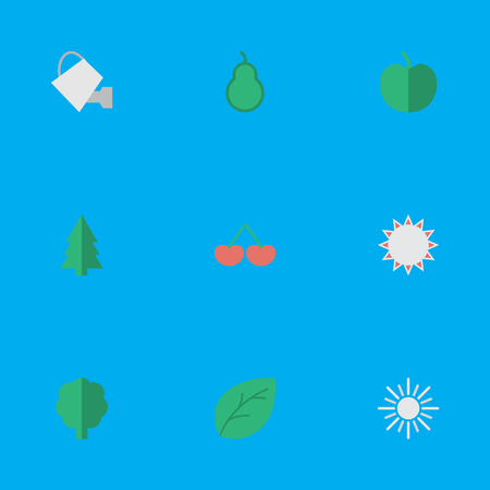 Vector Illustration Set Of Simple Garden Icons. Elements Tree, Punching Bag, Sun And Other Synonyms Hate, Punching And Bag. Illustration