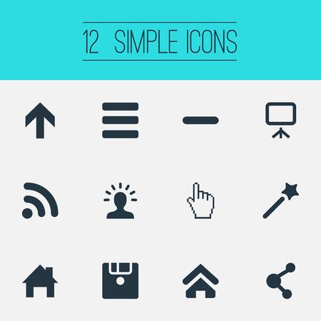 Vectorillustratiereeks Eenvoudige UI-Pictogrammen. Elementen draadloze verbinding, naar boven, thuispin en andere synoniemenstok, menu en punt.