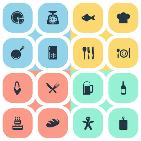 Vector Illustration Set Of Simple Cuisine Icons. Elements Friedge, Christmas Cookies, Seafood And Other Synonyms Mug, Seafood And Italy. Illustration