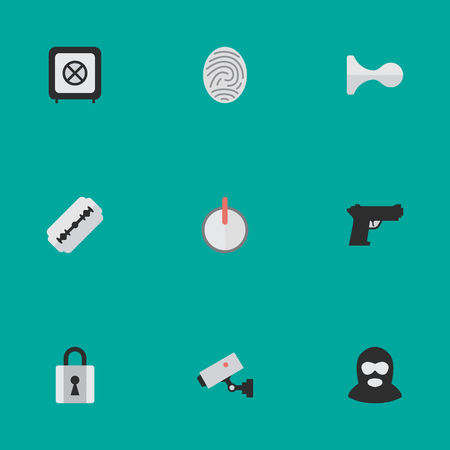 Vector Illustration Set Of Simple Offense Icons. Elements Hunting, Safe, Closed And Other Synonyms Razor, Fingerprint And Burglar. Ilustração